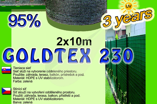GoldTex árnyékoló háló 2x10m árnyékoló háló